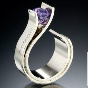 Unique 925 silver purple ring size 8